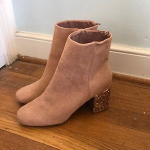Old navy pink booties with sparkle heel